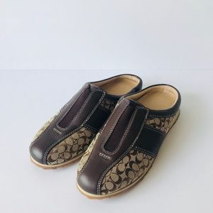 Coach Brown/Tan Mules CC Size